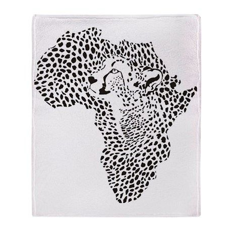 Africa in a cheetah camouflage Throw Blanket on CafePress.com