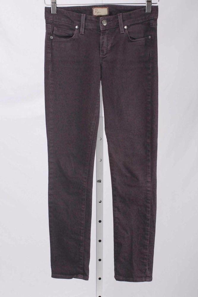 Paige Size 24 or 0 Peg Skinny Eggplant Leopard Print Stretch Jeans 2664 ST217    eBay
