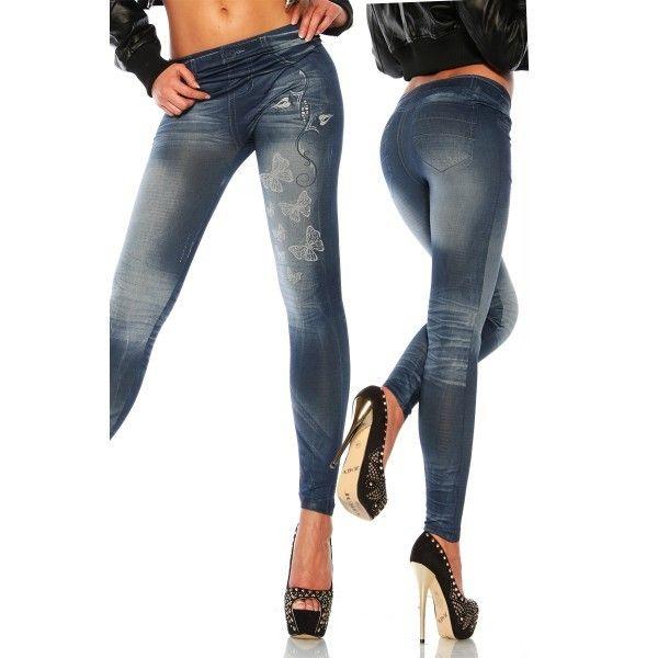 Leggings jeans avec papillons et strass