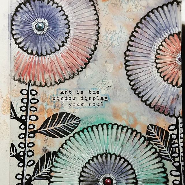 Working with a different colour palette to usual. Page created with #timholtz distress paint, @tcwstencils #rangerink #dinawakley stamps and #stampcarving