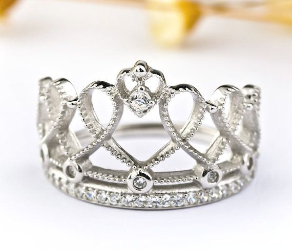 925 Sterling Silver Princess Crown Ring by SilverCharmsBracelet