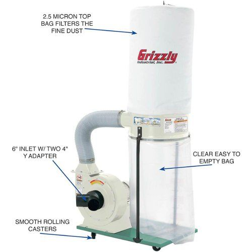 Grizzly G1029Z2P 2 HP Dust Collector with Aluminum Impeller, Polar Bear Series  http://www.handtoolskit.com/grizzly-g1029z2p-2-hp-dust-collector-with-aluminum-impeller-polar-bear-series/