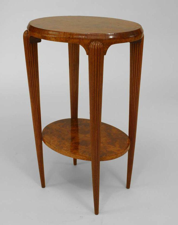 French Art Deco Burl Walnut End Table