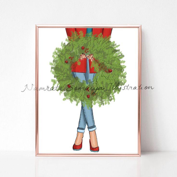 Excited to share the latest addition to my #etsy shop: Wreath decoration.  (Fashion Illustration art print) #art #drawing #prints #artprint #illustration #fashionillustration