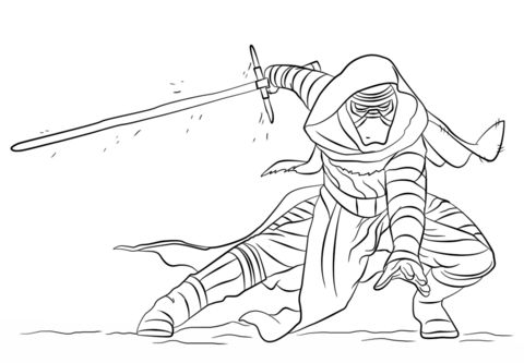 Click to see printable version of Kylo Ren Coloring page