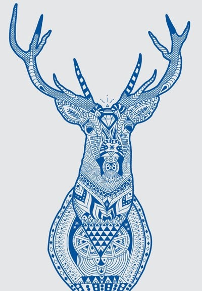 Tarik Arnautovic print.  (Stags head or animals filled with 70's inspired prints?)