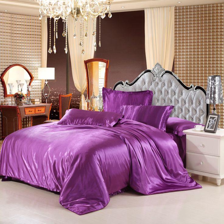Продажа классический подражать шелковый feel атласная твердые кофе розовый фиолетовый комплект постельных принадлежностей двуспальная кровать пододеяльник постельное белье простыня набор купить на AliExpress