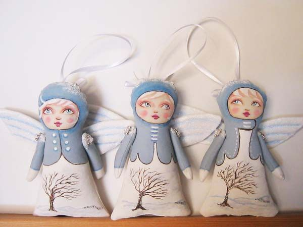 Little Snow Angel Tree Trimmers by Hally Levesque