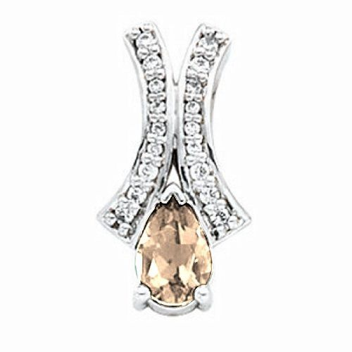 Platinum Pear Cut Golden Topaz and Diamond Pendant Gems-is-Me. $1311.09. FREE PRIORITY SHIPPING. This item will be gift wrapped in a beautiful gift bag. In addition, a 'gift message' can be added.