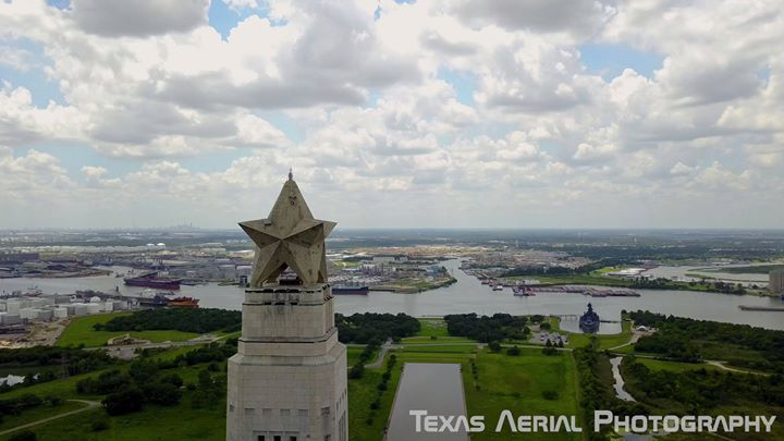 A look at the San Jacinto Monument, above the Battle Ground on the birthplace of Texas. If you look near the reflection pool you can also see the Battleship Texas. #aerialfilming #buydrones #flydrones #droneblog #dronestagram #dronefly