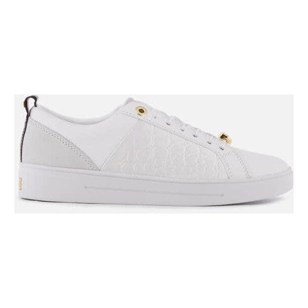 Ted Baker Women's Kulei Leather Cupsole Trainers (1 895 ZAR) ❤ liked on Polyvore featuring shoes, sneakers, white, low profile sneakers, leather shoes, leather sneakers, white trainers and ted baker sneakers