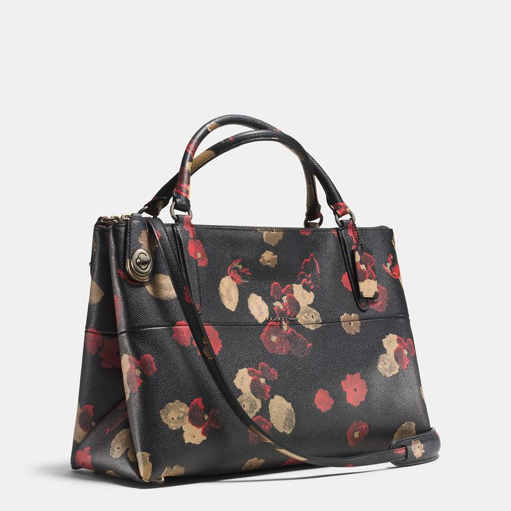 Borough 33623 Small Turnlock In Floral Print Bn/Black Multi Leather Satchel | Fall And Winter ...