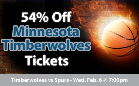 $17 (54% off) Minnesota Timberwolves Tickets vs San Antonio Spurs Wed. Feb. 6 @ 7:00pm - Crowd Seats Cheap Sports Tickets