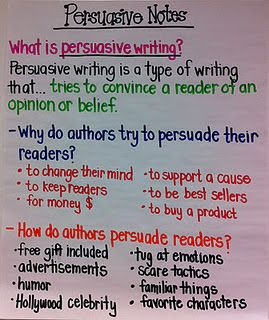 """Persuasive Notes"" is a great anchor chart to remind students why authors try to persuade readers and how they go about it."
