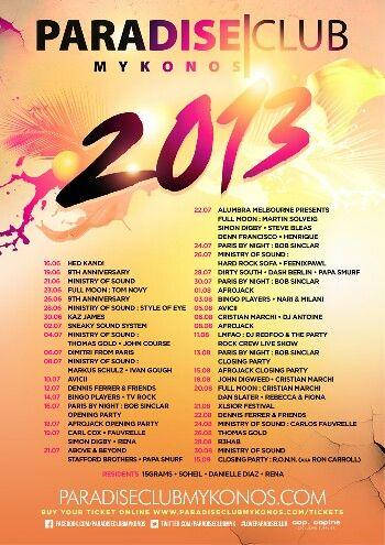 Paradise Club Mykonos 2013 line-up