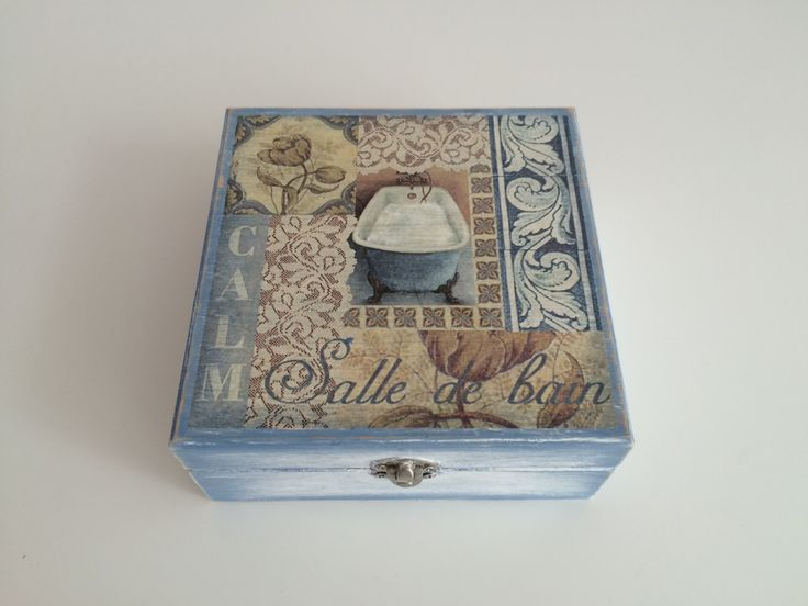 Handmade Wooden Decoupage Box - Vintage Looking in  Baby Blue for the Bathroom by MiseEnBoite on Etsy https://www.etsy.com/listing/205882525/handmade-wooden-decoupage-box-vintage