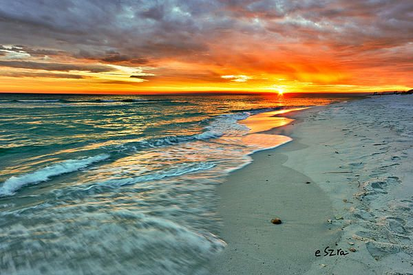 Sunset With Sea Wave Tap To See More Breathtaking Beach: Red Orange Beach Sunset