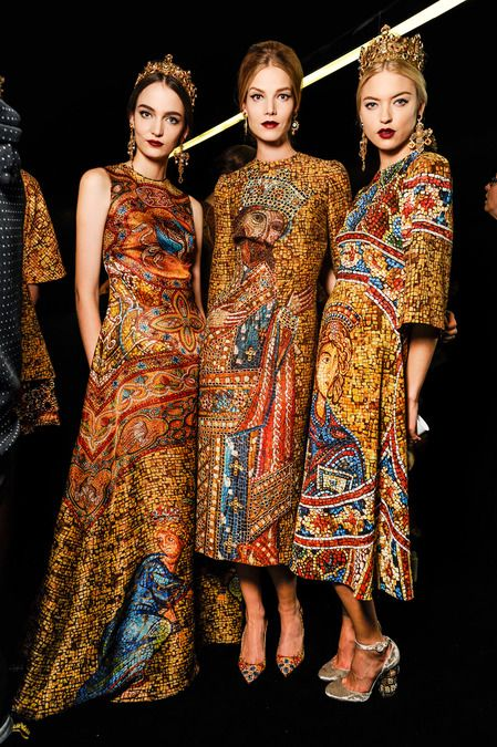 Backstage at Dolce & Gabbana Winter 2014 Womens fashion show