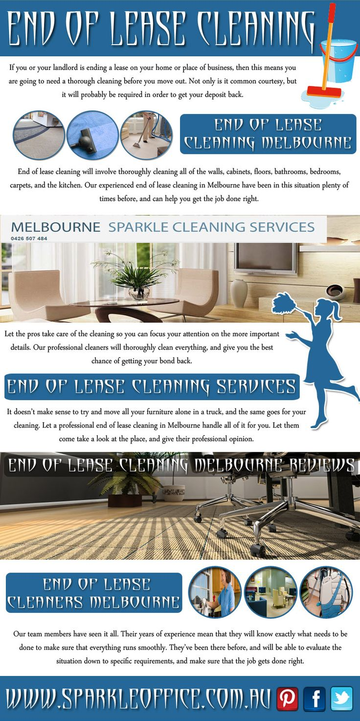 Visit this site http://www.sparkleoffice.com.au/End-Of-Lease-Cleaning-Melbourne.html for more information on end of lease cleaning.  Henceforth it is highly advisable that you hire the best end of lease cleaning service. Follow Us: http://www.houzz.com/pro/sparklecleaningservicesmelbourne/__public