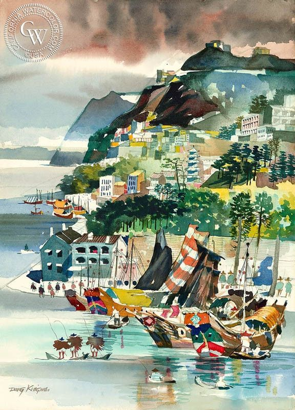 Dong Kingman - Typhoon Shelter, Hong Kong, 1961, California art, original California watercolor art for sale, fine art print for sale, giclee watercolor print - CaliforniaWatercolor.com