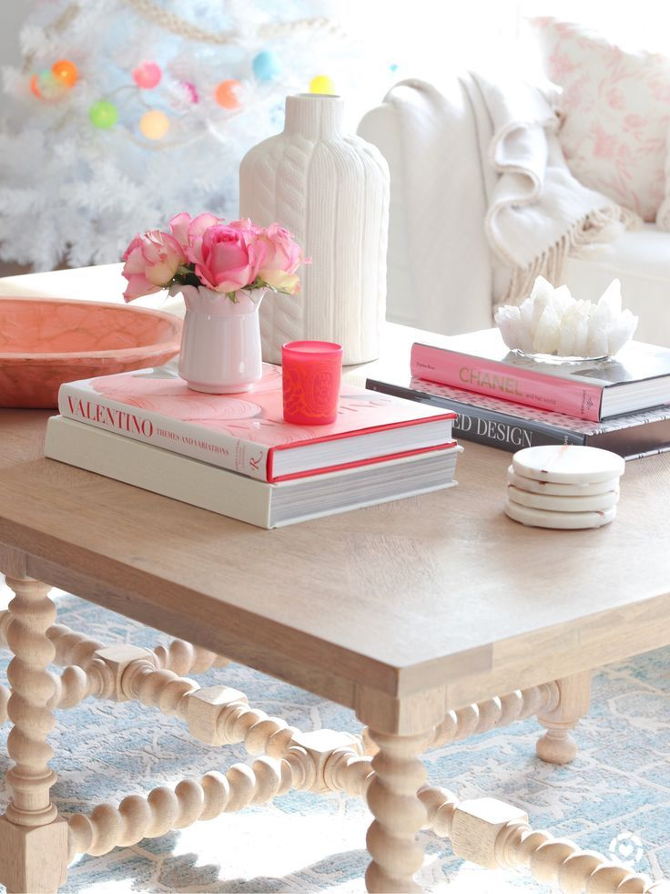 Pink And Blush Coffee Table Accents Valentine S Day Decor Romantic Living Room Decorating Coffee Tables Decor