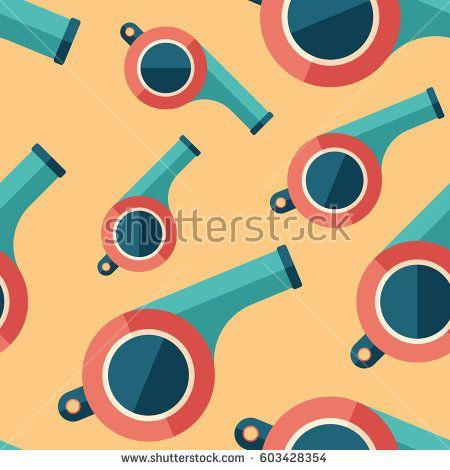Retro whistle flat icon seamless pattern. #sport #sportart #vectorpattern #patterndesign #seamlesspattern