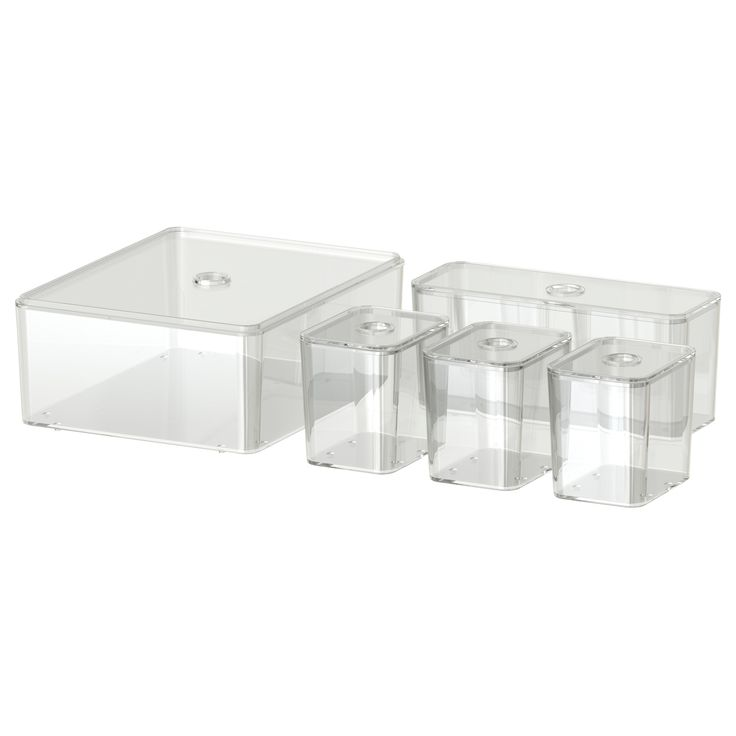 Ikea..GODMORGON  Box with lid, set of 5, clear..Ikea GODMORGON....Helps you organize beauty products,lipsticks, creams, etc.