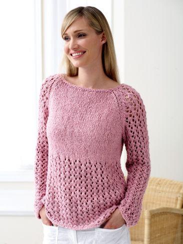 Raglan Lace | Yarn | Free Knitting Patterns | Crochet Patterns | Yarnspirations