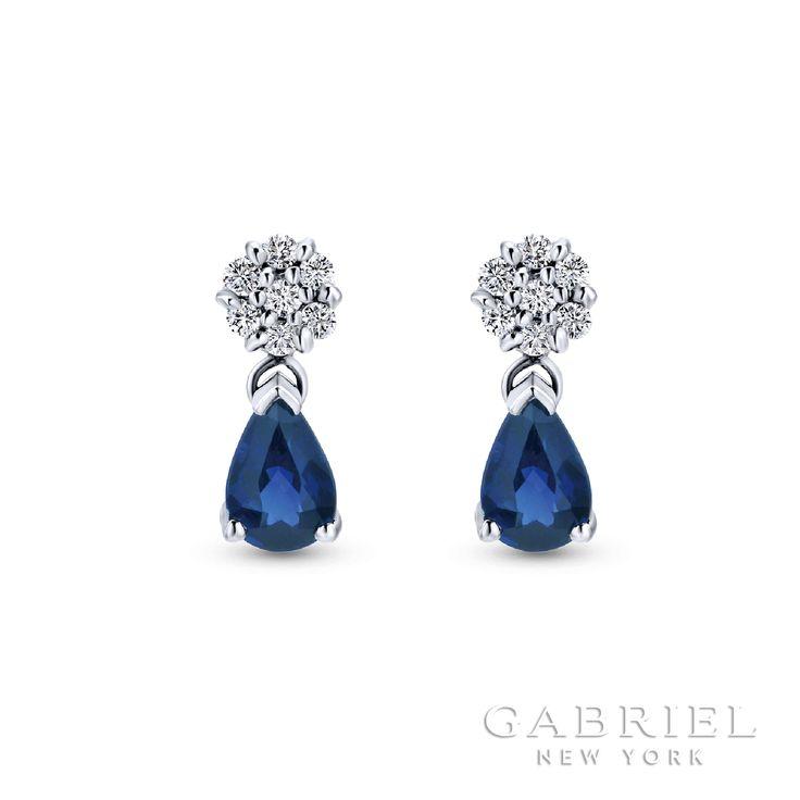 14k White Gold Stud Diamond B Quality Sapphire Earrings