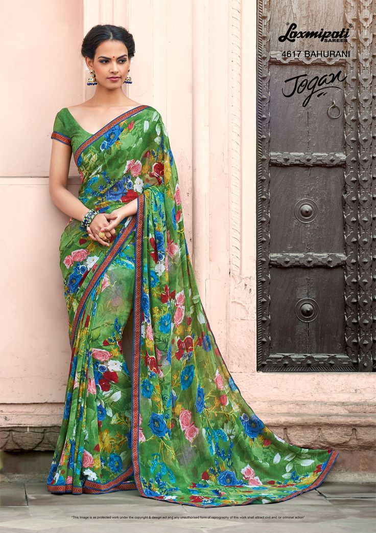 Mesmerize everyone with your wonderful conventional look by draping this multicolour #georgette #floral #printed_saree along with Fancy Lace Border. Catalogue- JOGAN Designnumber: 4617, Price: ₹1375.00  #JOGAN0317 #Laxmipatisarees #Happy #RamNavami #Zever0317