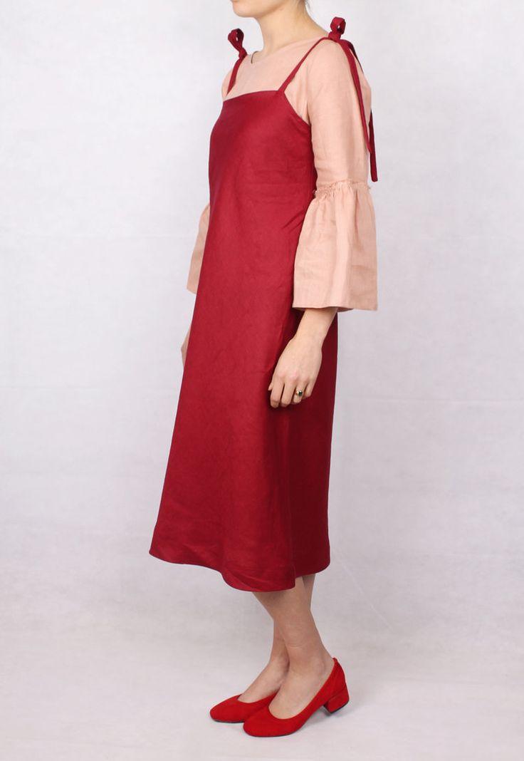 Graceland | Tie Up Red Linen Slip Dress