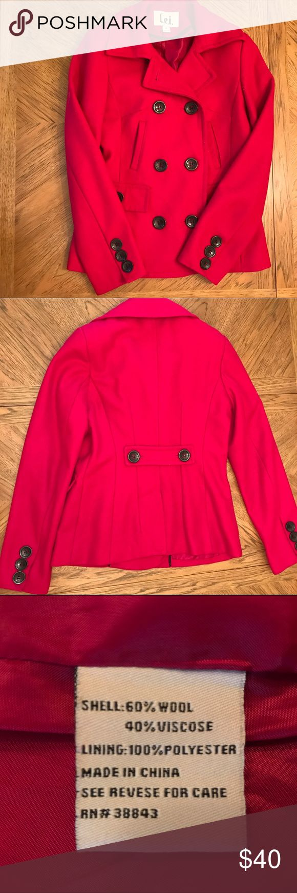 🍎Wool-Blend Apple Red Pea Coat 🍎 Fall is upon us! Time for some apple cider, scarves, and pea coats. This bright red pea coat will make any wardrobe pop. It is in excellent condition with no tears, rips, or pilling. Just needs a lint roller. Has four pockets and lovely, bold, black buttons. Comes with a good that is detachable (not pictured)! Purchased at Macy's (brand is l.e.i.) Make me an offer and happy Fall! 🍁🍂🎃 Macy's Jackets & Coats Pea Coats