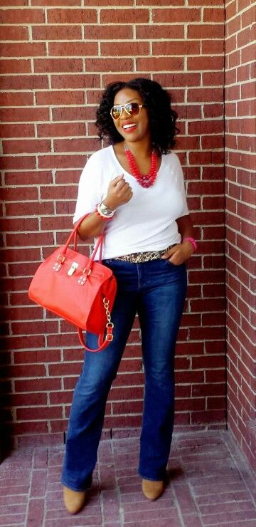 "Casual Friday Work Outfit: white t-shirt, Leopard belt, red accessories,  and booties outfit details on werkingfashions.com blog. Follow on Instagram @werkingfashions, Twitter @WerkingGal, Facebook ""Werking Fashions ""."