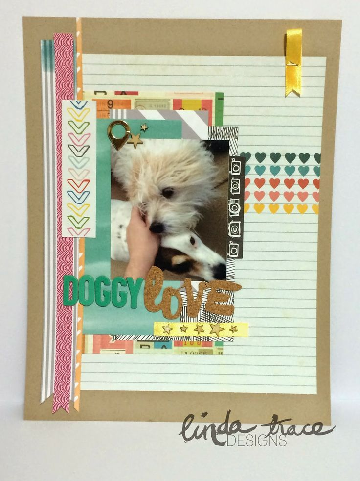 'Doggy Love' scrapbook layout by Linda Trace, using Polly! Scrap Kits March 2014 Spearmint Leaves scrap kit #pollyscrap