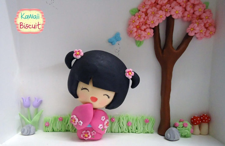 ♥ Kawaii Biscuit ♥: Quadro sakurá com Kokeshi