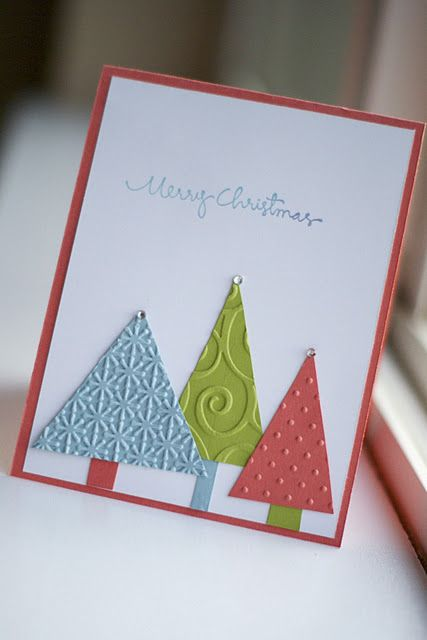 easy christmas card - love the shades chosen here (and just 3 colors); tiny bling for star; stamp's font is cute!