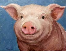 Pig Art Print of Original Painting by Dottie Dracos, Piglet Portrait, Pretty Pink Pig, Smiling Pig, Farm Animal Art, Pig Paintings