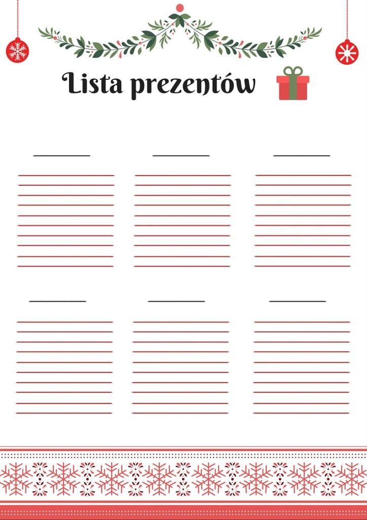 Darmowy planner - lista prezentów na święta | Free printable planner for Christmas