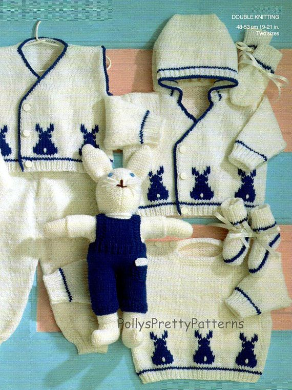 "Instant Download - PDF Knitting Pattern - Baby Boys & Girls Outfit - Bunny Rabbits/Flowers - 19-21"" Chests"