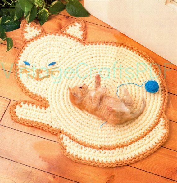 Pdf Instant Download Cat Rug Mat Crochet Pattern Kitty Cat
