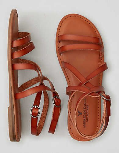 AEO Strappy Criss-Cross Sandal , Tan | American Eagle Outfitters