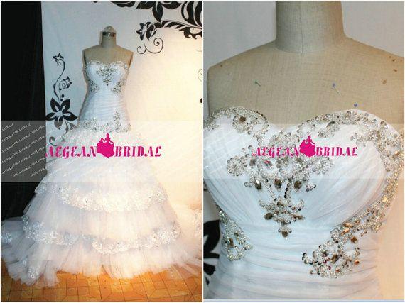 RW190 Lace Wedding Dress in Rhinestone Ball Gown by Aegeanbridal
