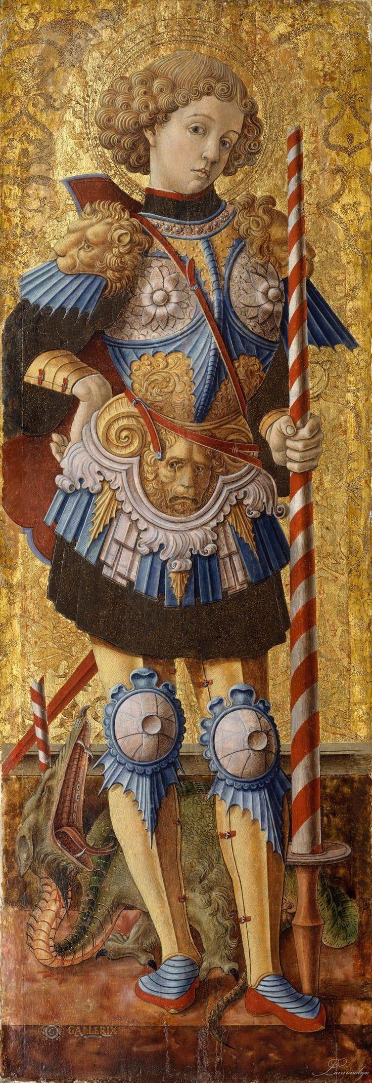 Музей Метрополитен: Карло Кривелли, известен с 1457 - умер 1493 Асколи-Пичено) - Святой Георгий талия, Венеция ( 1472; Темпера на дереве, золотой фон; 38 х 13 1/4 дюйма (96,5 х 33,7 см);: