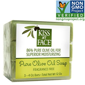 Kiss My Face - Naked Pure Olive Oil Bar Soap Value Pack $ 5.99. Ingredients: Sodium Olivate (Saponified Olive Oil), Water, Sodium Chloride (Sea Salt).