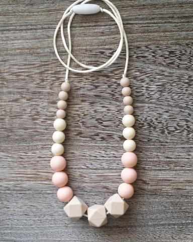 Silicone Teething Necklace in Neutral Beige
