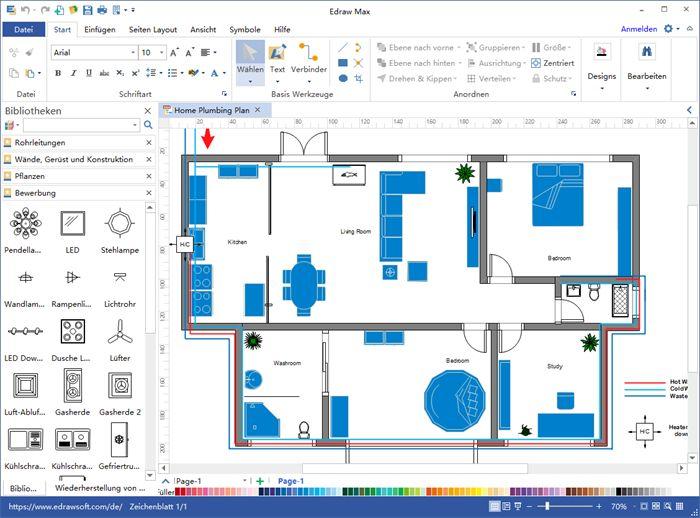 Rohrleitungs und Sanitärpläne Software Planer, Layout
