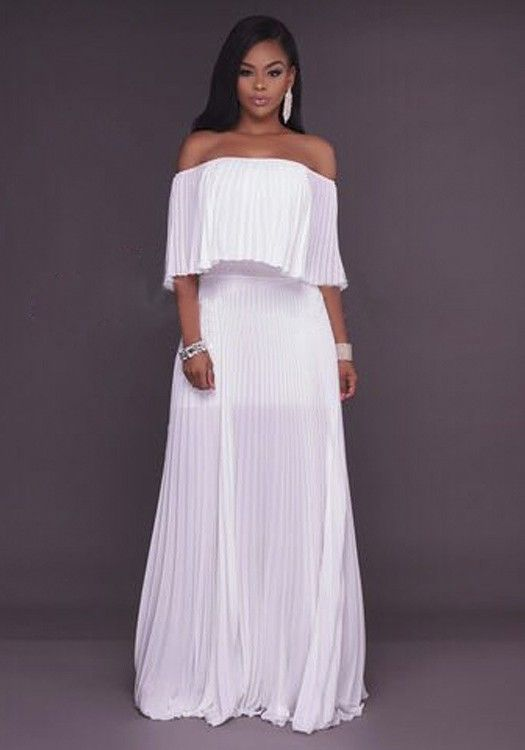 White Ruffle Bandeau Off Shoulder Pleated Backless Party Beach Chiffon Maxi  Dress f94d7305b96c
