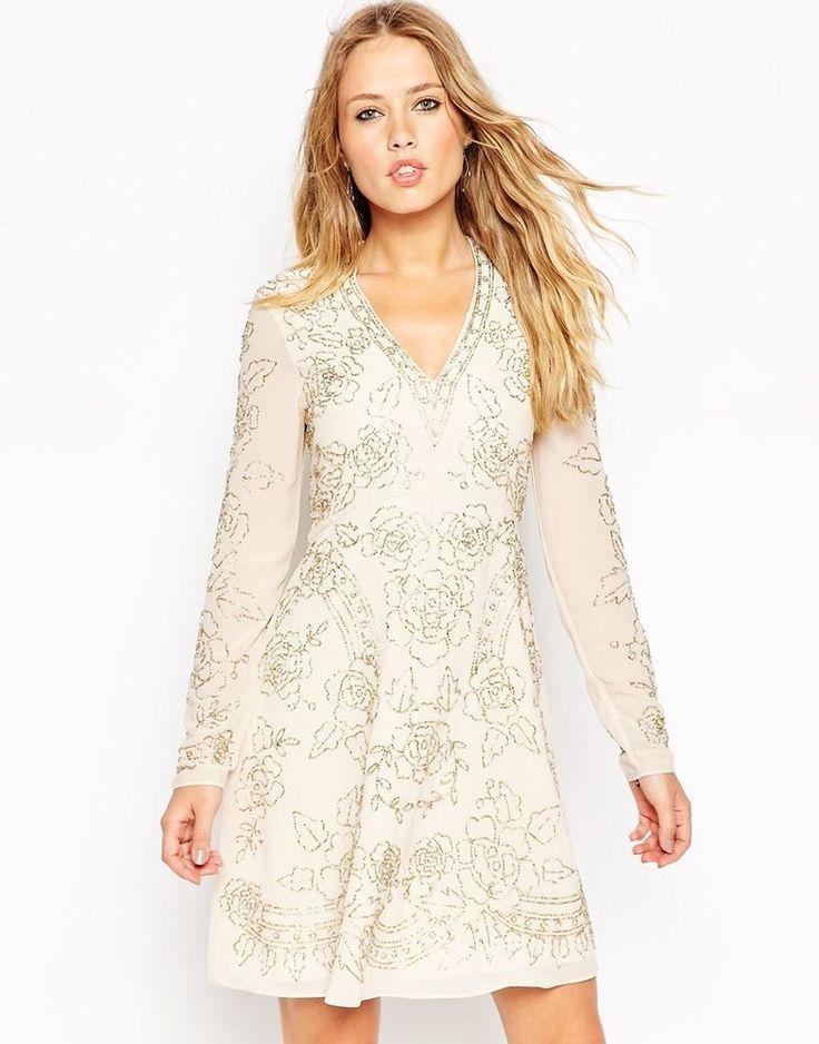 Needle & Thread Lace Embellished Plunge Skater Evening Dress UK 14/EU 42/US 10