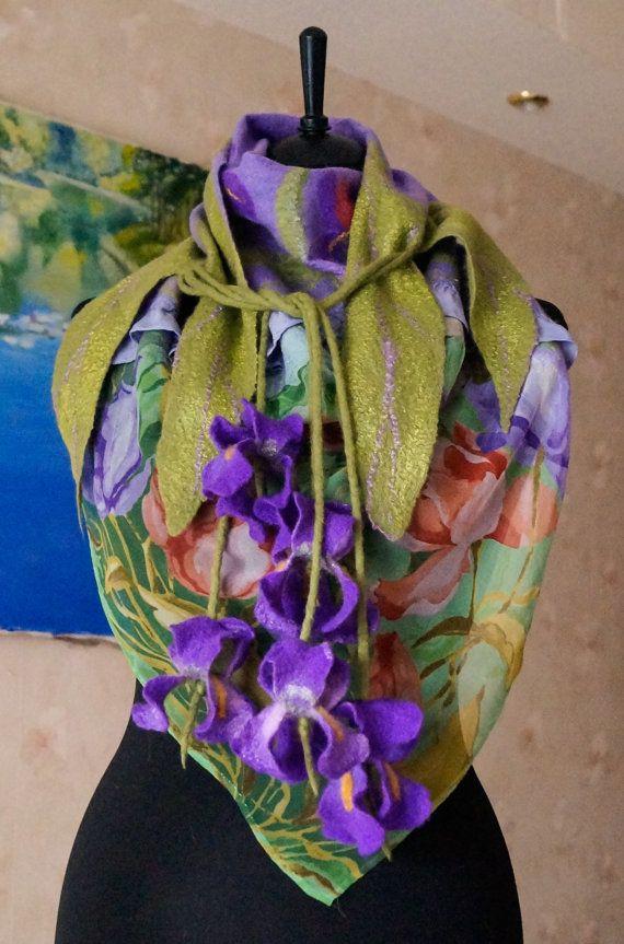 felted shawl Irises от MagikfeltAntonio на Etsy