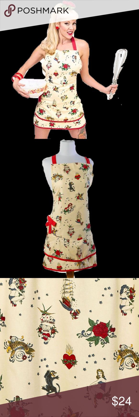🍒NWT- SEXY Apron with flash tattoo images 🧜🏿‍♀️ 🧜🏿‍♀️ NWT- SEXY Crème colored apron with flash tattoo images of mermaids, panthers, pinups and more. 100% brand new and high quality apron. Can well protect your clothes, arms and head from getting dirty. Come with pocket for convenient to store some gadgets such as keys, cellphone, MP3, etc. . Suitable for kitchen, cafe, working shop, etc. Simple and practical design, comfortable to wear, and easy to clean. * 100% Cotton * Includes 1…